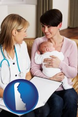 delaware a midwife with a young mother and her baby