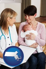 massachusetts a midwife with a young mother and her baby