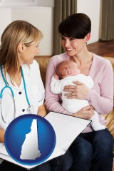 new-hampshire a midwife with a young mother and her baby