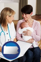 pennsylvania a midwife with a young mother and her baby