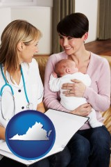 virginia a midwife with a young mother and her baby