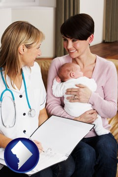 a midwife with a young mother and her baby - with Washington, DC icon