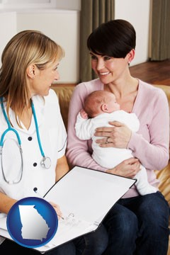 a midwife with a young mother and her baby - with Georgia icon