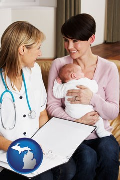 a midwife with a young mother and her baby - with Michigan icon