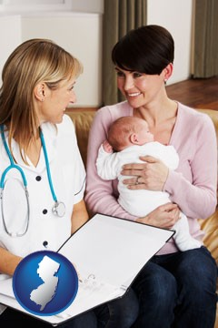 a midwife with a young mother and her baby - with New Jersey icon