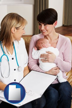 a midwife with a young mother and her baby - with Utah icon