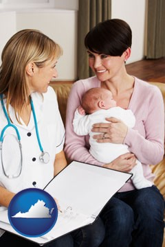 a midwife with a young mother and her baby - with Virginia icon