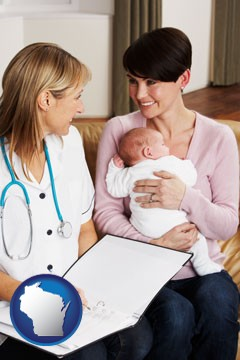 a midwife with a young mother and her baby - with Wisconsin icon
