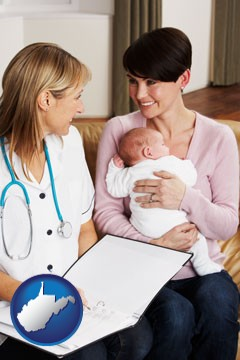 a midwife with a young mother and her baby - with West Virginia icon